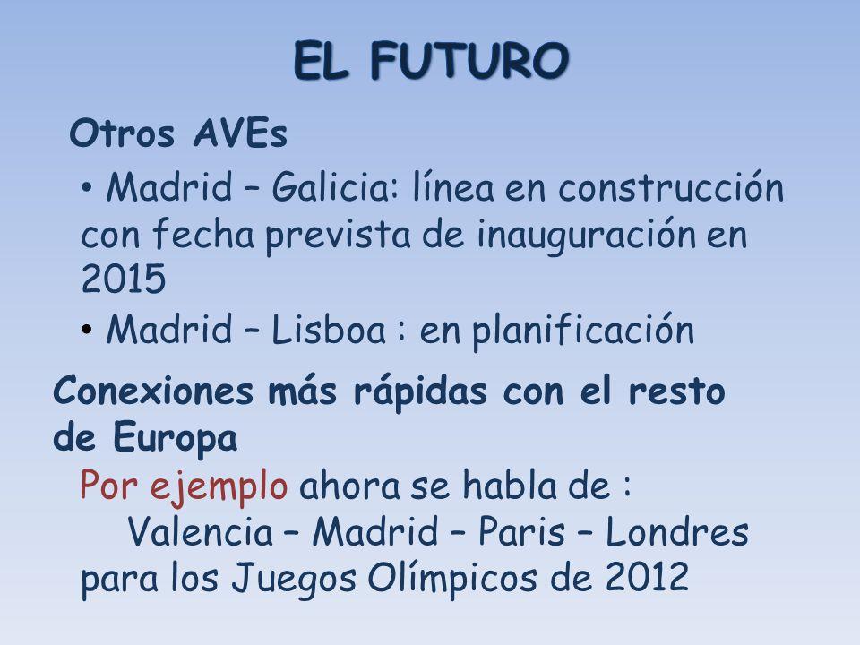 Otros AVEs Madrid – Galicia: línea en construcción con fecha prevista de inauguración en 2015 Madrid – Lisboa : en planificación Conexiones más rápida