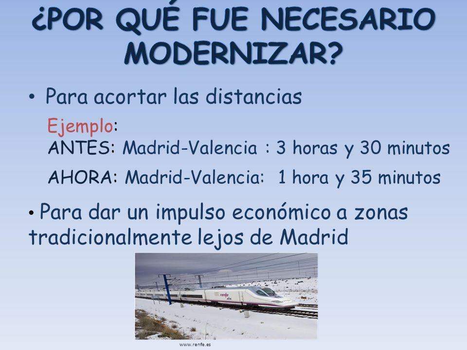 Para acortar las distancias Ejemplo: ANTES: Madrid-Valencia : 3 horas y 30 minutos AHORA: Madrid-Valencia: 1 hora y 35 minutos Para dar un impulso eco