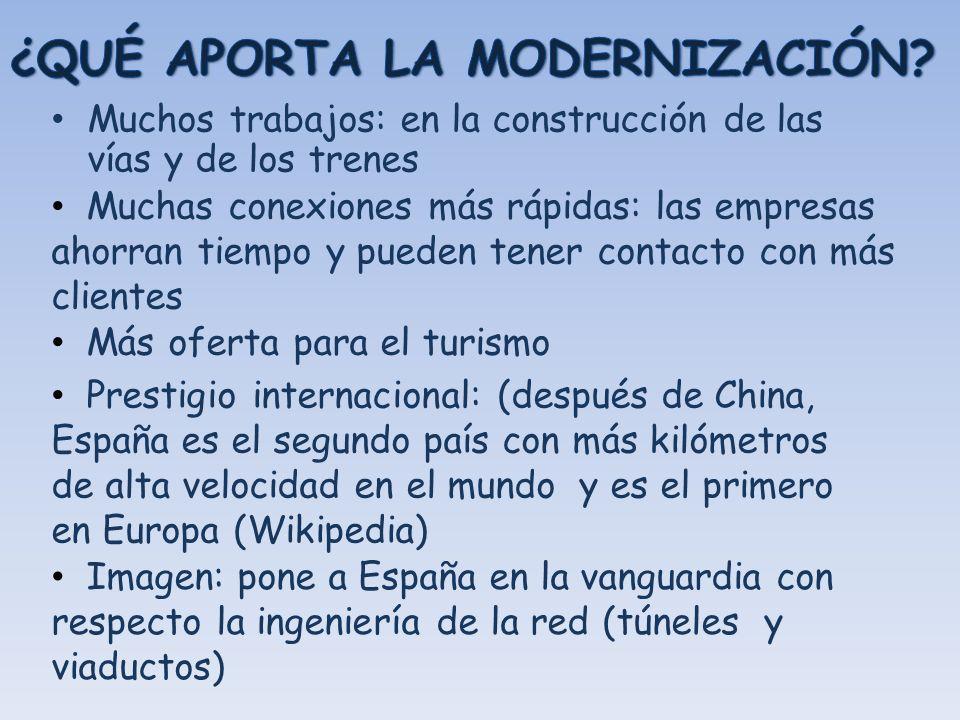 Muchos beneficios para la economía Muchos beneficios para los habitantes de Madrid y las ciudades de destino del AVE Pero: Hace falta más inversión en el resto de la red para mejorar la situación de los otros usuarios