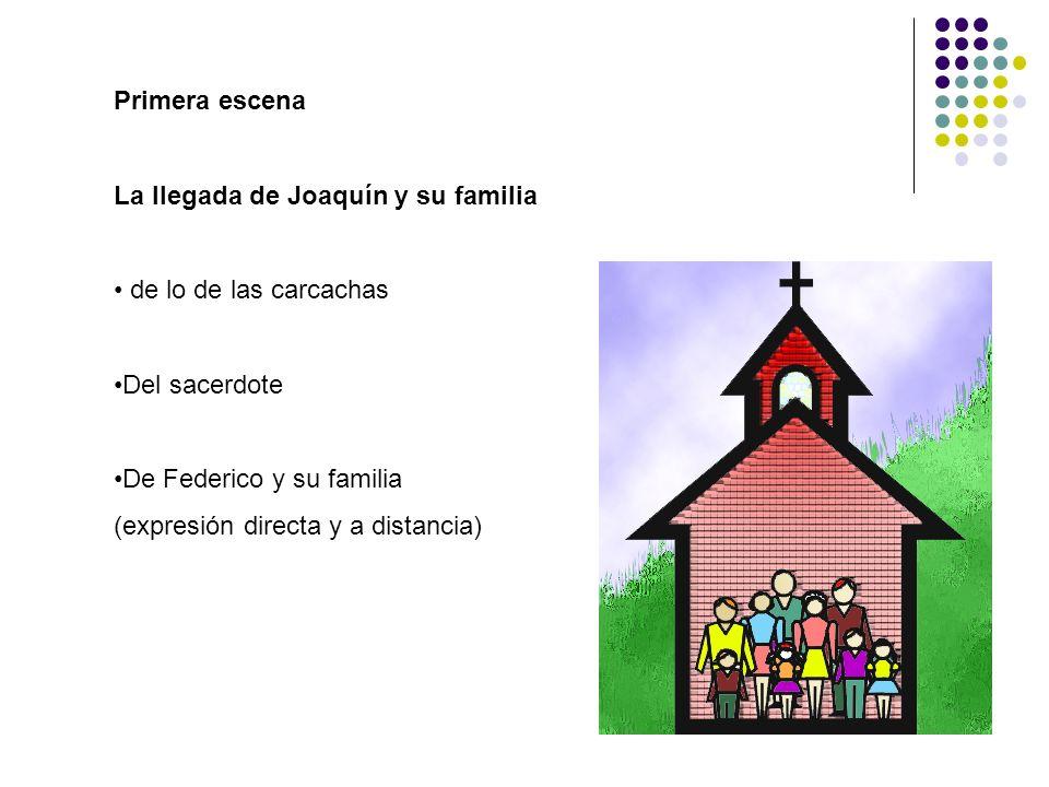 Primera escena La llegada de Joaquín y su familia de lo de las carcachas Del sacerdote De Federico y su familia (expresión directa y a distancia)