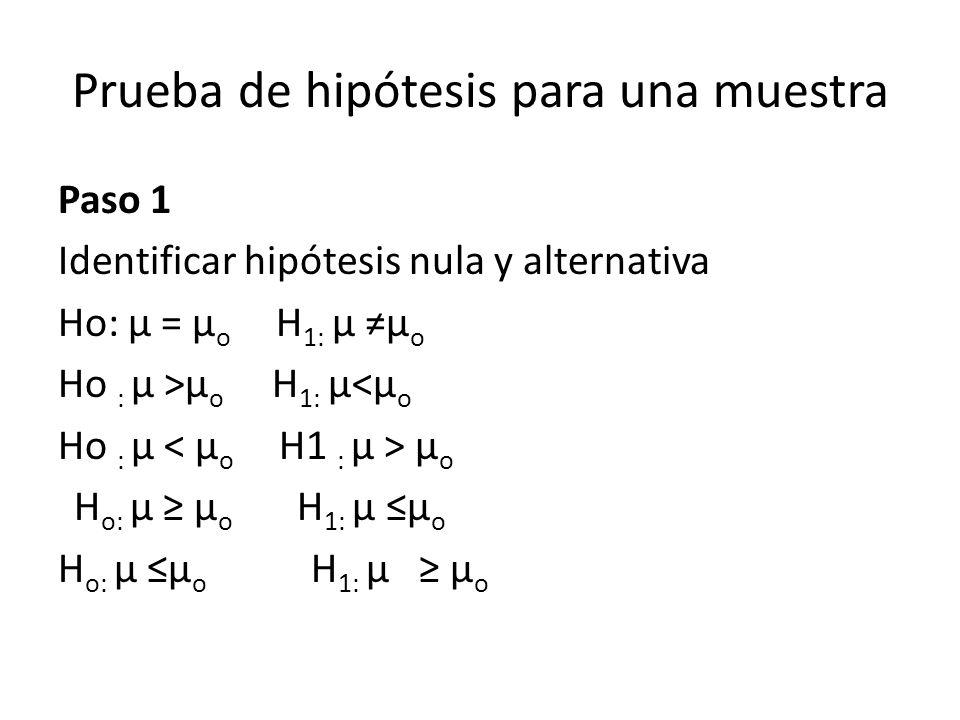 Prueba de hipótesis para una muestra Paso 1 Identificar hipótesis nula y alternativa Ho: µ = µ o H 1: µ µ o Ho : µ >µ o H 1: µ<µ o Ho : µ µ o H o: µ µ