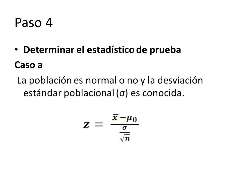 Paso 4 Determinar el estadístico de prueba Caso a La población es normal o no y la desviación estándar poblacional (σ) es conocida.