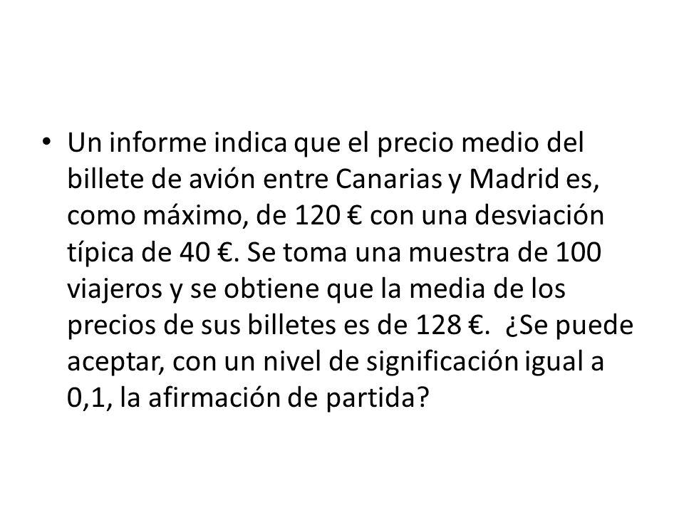 Un informe indica que el precio medio del billete de avión entre Canarias y Madrid es, como máximo, de 120 con una desviación típica de 40. Se toma un