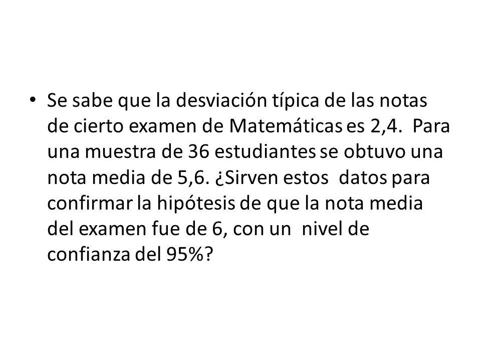 Se sabe que la desviación típica de las notas de cierto examen de Matemáticas es 2,4. Para una muestra de 36 estudiantes se obtuvo una nota media de 5