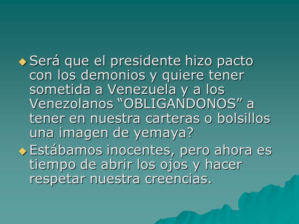 Será que el presidente hizo pacto con los demonios y quiere tener sometida a Venezuela y a los Venezolanos OBLIGANDONOS a tener en nuestra carteras o