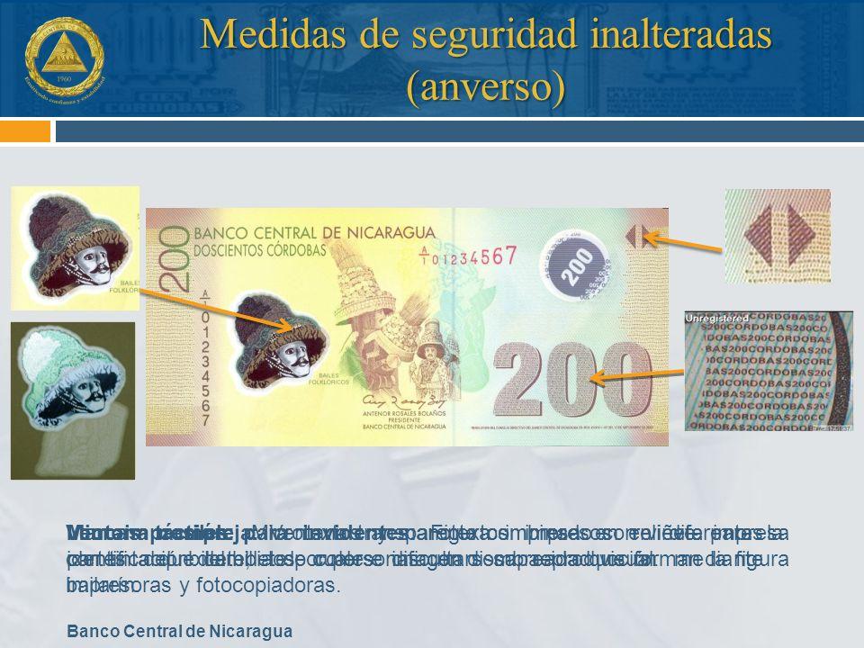 Banco Central de Nicaragua Ventana compleja: Ventana transparente combinado con viñeta impresa con tinta que cambia de color e imagen sombreada que fo