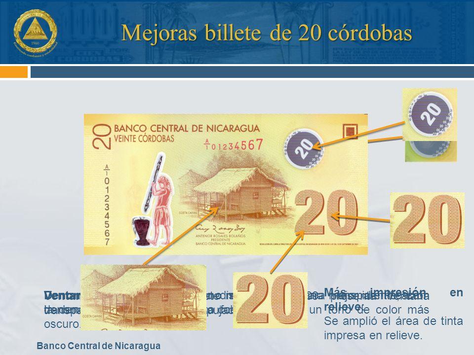 Banco Central de Nicaragua Mejoras billete de 20 córdobas Ventana transparente: Billete de serie 2009 presenta ventana transparente con número 20 repu