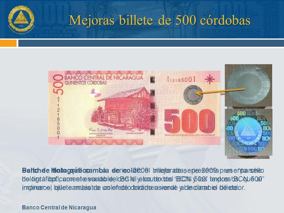 Banco Central de Nicaragua Sello de tinta que cambia de color: el billete de serie 2009 presenta sello de tinta ópticamente variable, con el escudo de