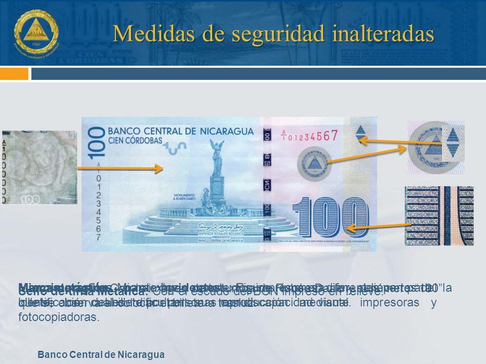 Banco Central de Nicaragua Medidas de seguridad inalteradas Marca de agua: Con la imagen de la tumba de Rubén Darío y el número 100 que se observa al