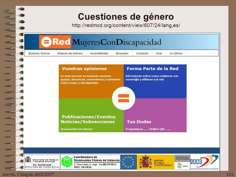 nee-tic, Chiapas, abril 2007102 Cuestiones de género http://redmcd.org/content/view/607/24/lang,es/
