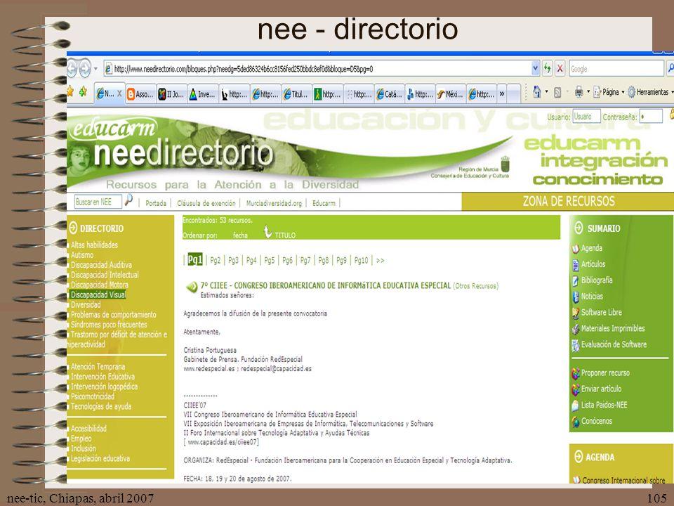nee-tic, Chiapas, abril 2007105 nee - directorio