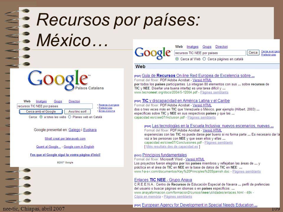 nee-tic, Chiapas, abril 2007109 Recursos por países: México…