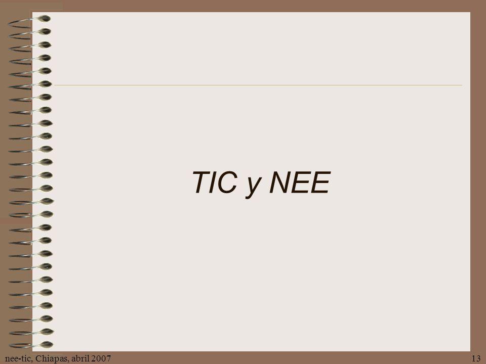 nee-tic, Chiapas, abril 200713 TIC y NEE