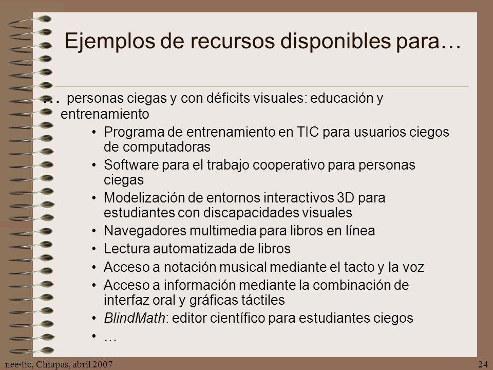 nee-tic, Chiapas, abril 200724 Ejemplos de recursos disponibles para… … personas ciegas y con déficits visuales: educación y entrenamiento Programa de