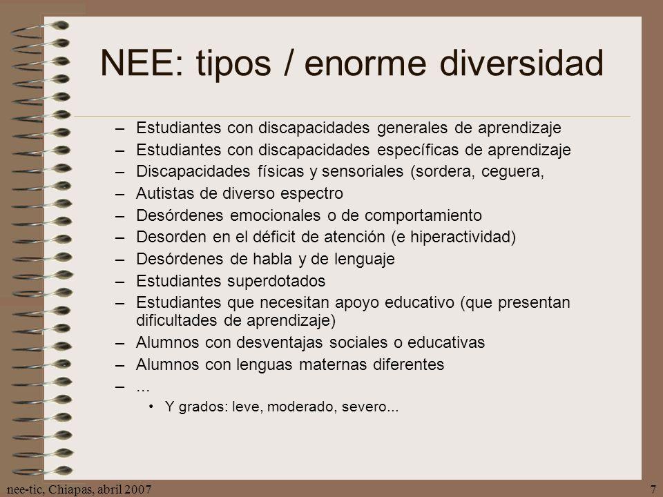 nee-tic, Chiapas, abril 20077 NEE: tipos / enorme diversidad –Estudiantes con discapacidades generales de aprendizaje –Estudiantes con discapacidades