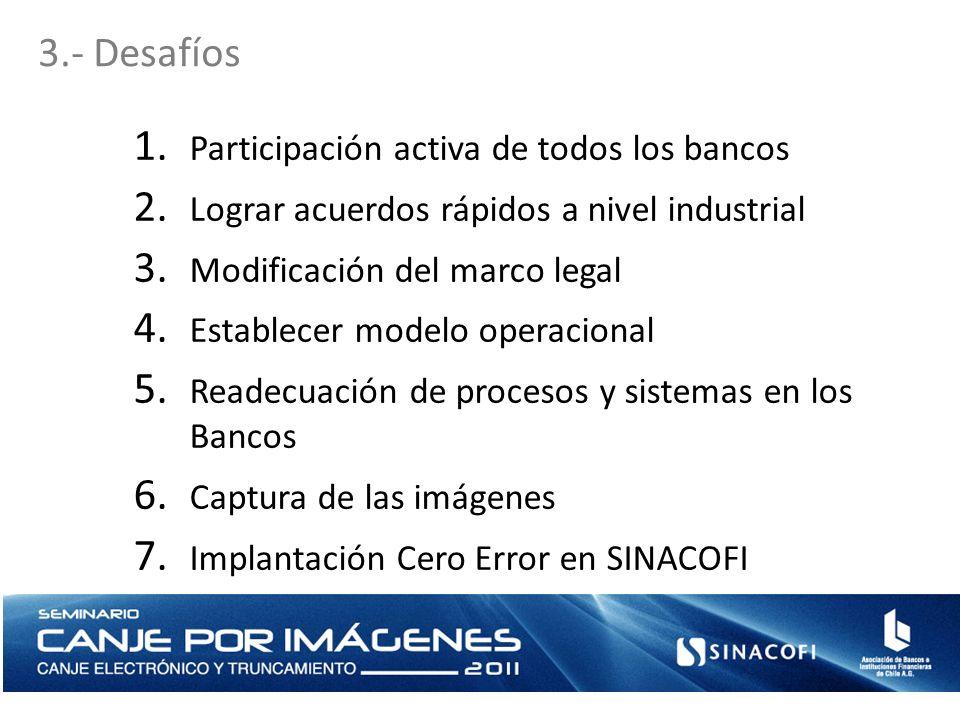 3.- Desafíos 1. Participación activa de todos los bancos 2. Lograr acuerdos rápidos a nivel industrial 3. Modificación del marco legal 4. Establecer m