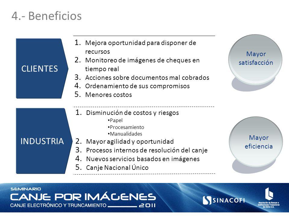 4.- Beneficios CLIENTES Mayor satisfacción INDUSTRIA 1. Mejora oportunidad para disponer de recursos 2. Monitoreo de imágenes de cheques en tiempo rea