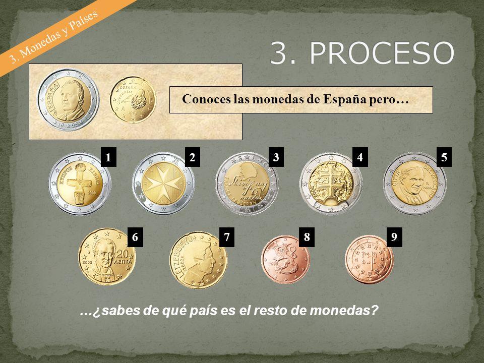3. Monedas y Países Conoces las monedas de España pero… …¿sabes de qué país es el resto de monedas? 12345 6789