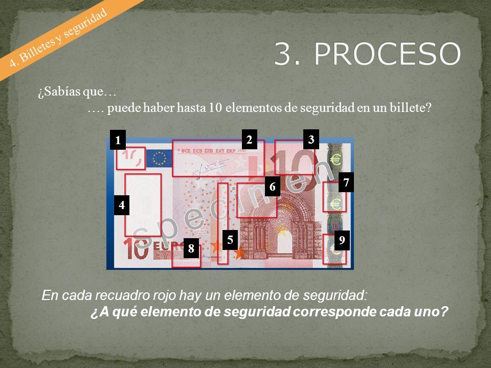 4. Billetes y seguridad ¿Sabías que… …. puede haber hasta 10 elementos de seguridad en un billete? En cada recuadro rojo hay un elemento de seguridad: