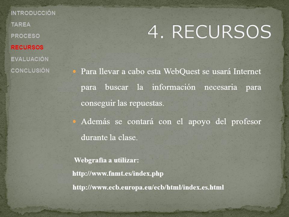 Para llevar a cabo esta WebQuest se usará Internet para buscar la información necesaria para conseguir las repuestas. Además se contará con el apoyo d