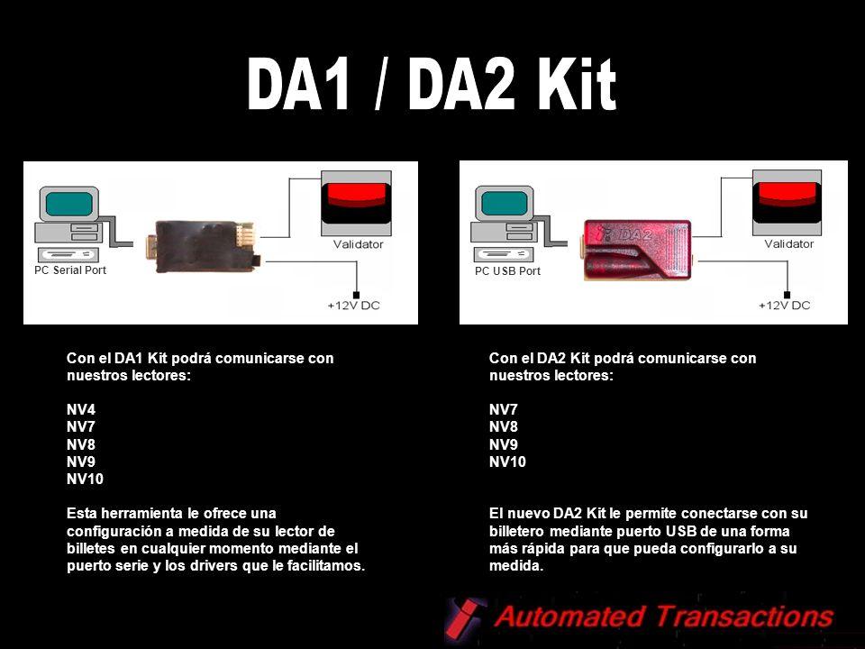 Con el DA1 Kit podrá comunicarse con nuestros lectores: NV4 NV7 NV8 NV9 NV10 Esta herramienta le ofrece una configuración a medida de su lector de bil