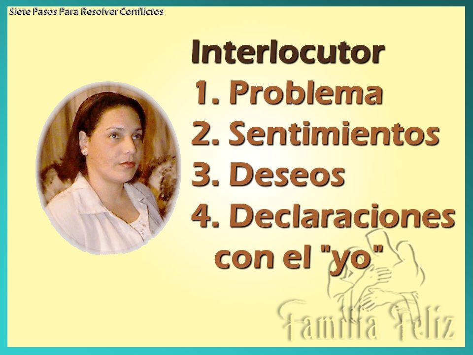 Interlocutor 1. Problema 2. Sentimientos 3. Deseos 4. Declaraciones con el