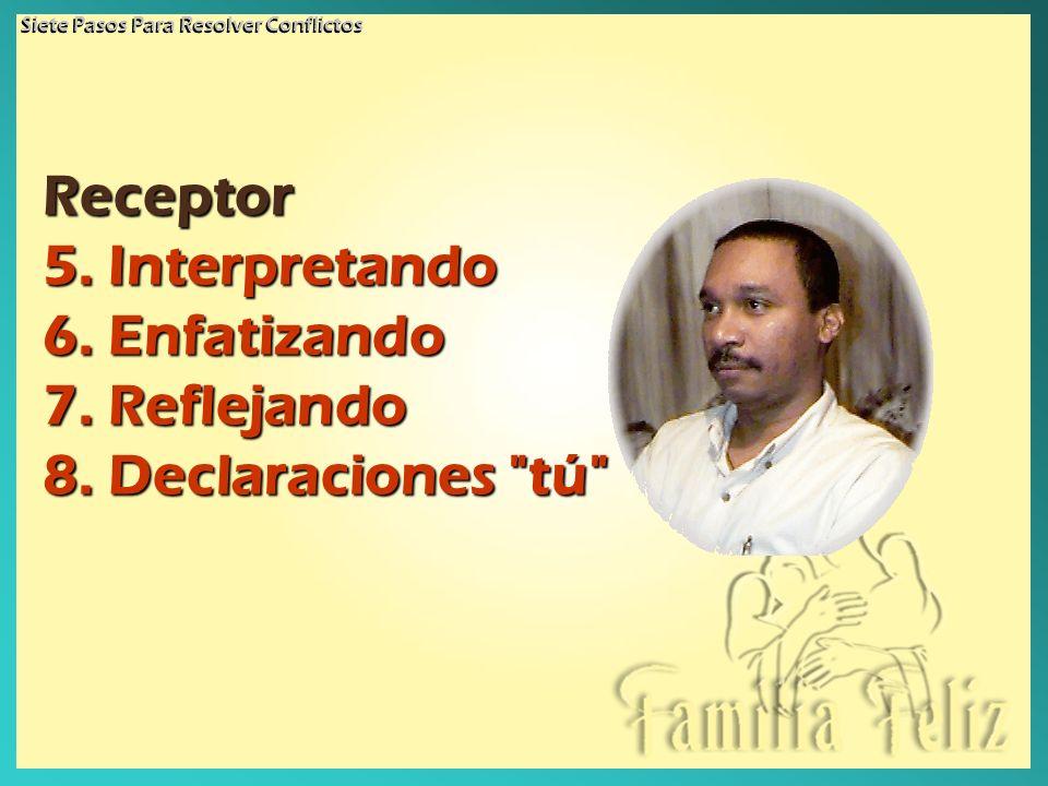 Receptor Receptor 5. Interpretando 6. Enfatizando 7. Reflejando 8. Declaraciones