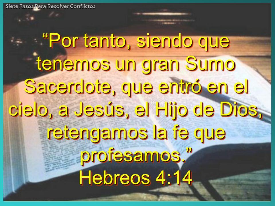 Por tanto, siendo que tenemos un gran Sumo Sacerdote, que entró en el cielo, a Jesús, el Hijo de Dios, retengamos la fe que profesamos. Hebreos 4:14 P