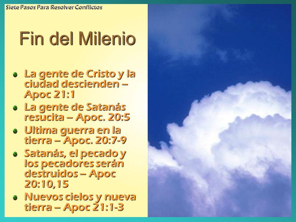 Fin del Milenio La gente de Cristo y la ciudad descienden – Apoc 21:1 La gente de Satanás resucita – Apoc. 20:5 Ultima guerra en la tierra – Apoc. 20:
