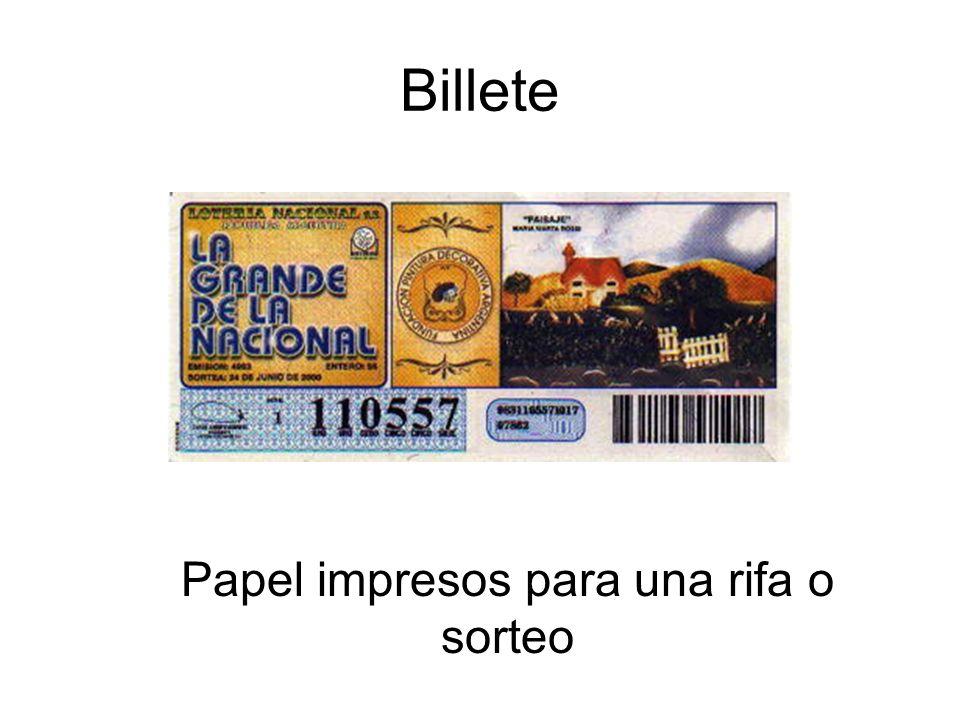 Billete Papel impresos para una rifa o sorteo