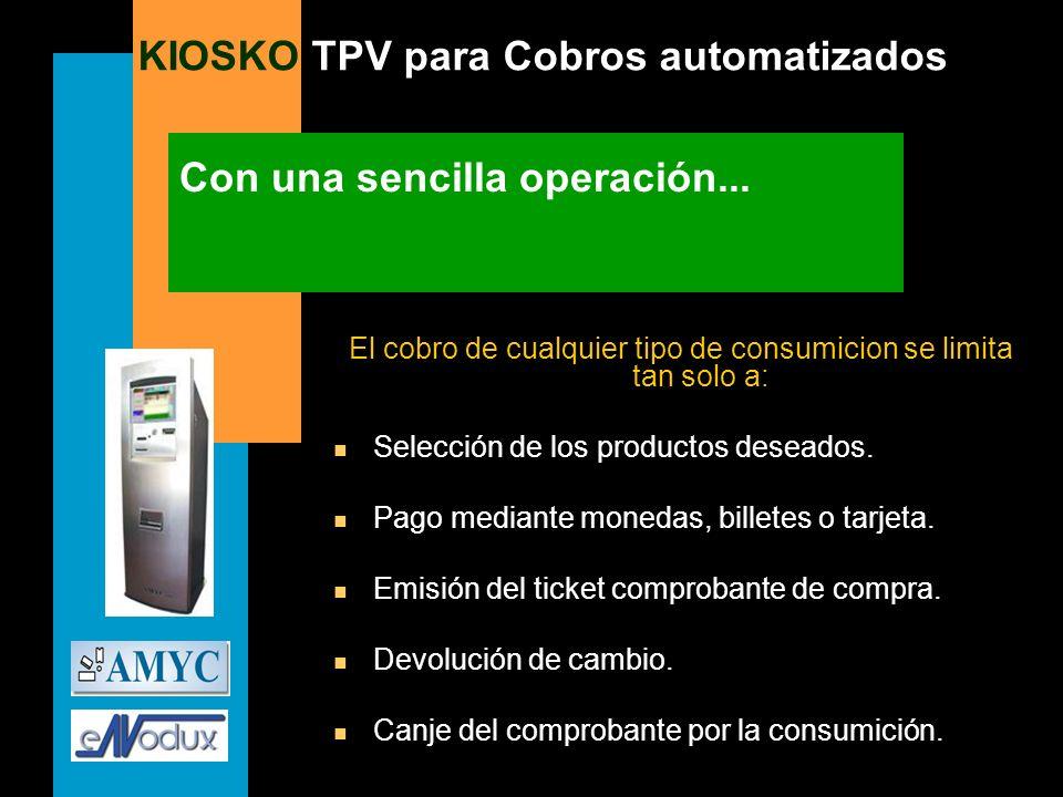 KIOSKO TPV para Cobros automatizados Con una sencilla operación... El cobro de cualquier tipo de consumicion se limita tan solo a: n Selección de los
