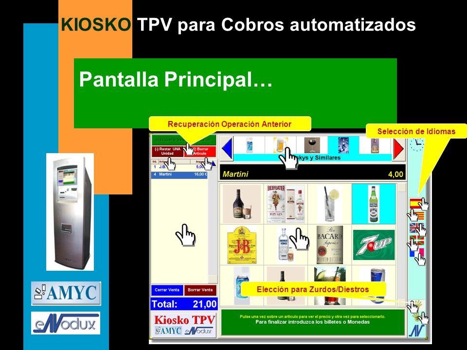 KIOSKO TPV para Cobros automatizados Pantalla Principal… Selección de Idiomas Elección para Zurdos/Diestros Recuperación Operación Anterior