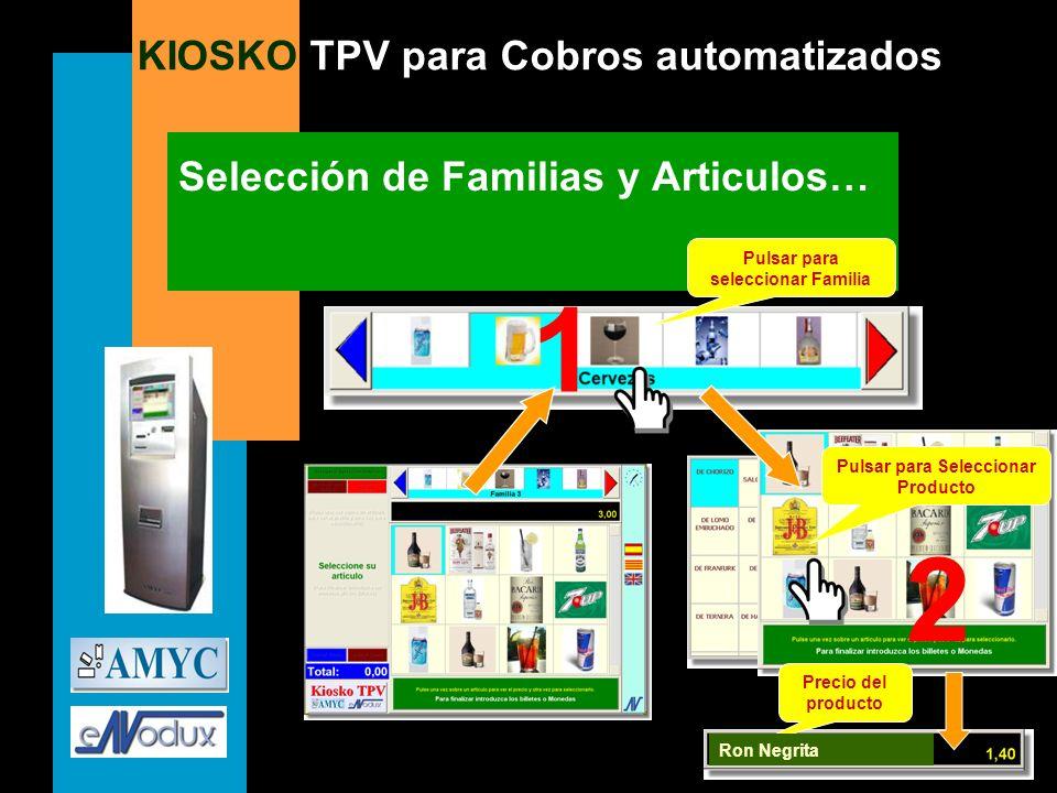 KIOSKO TPV para Cobros automatizados Selección de Familias y Articulos… Precio del producto Pulsar para seleccionar Familia Pulsar para Seleccionar Pr
