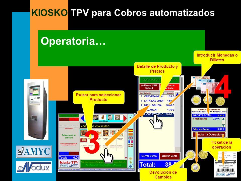 KIOSKO TPV para Cobros automatizados Operatoria… Pulsar para seleccionar Producto Detalle de Producto y Precios Introducir Monedas o Billetes Devoluci