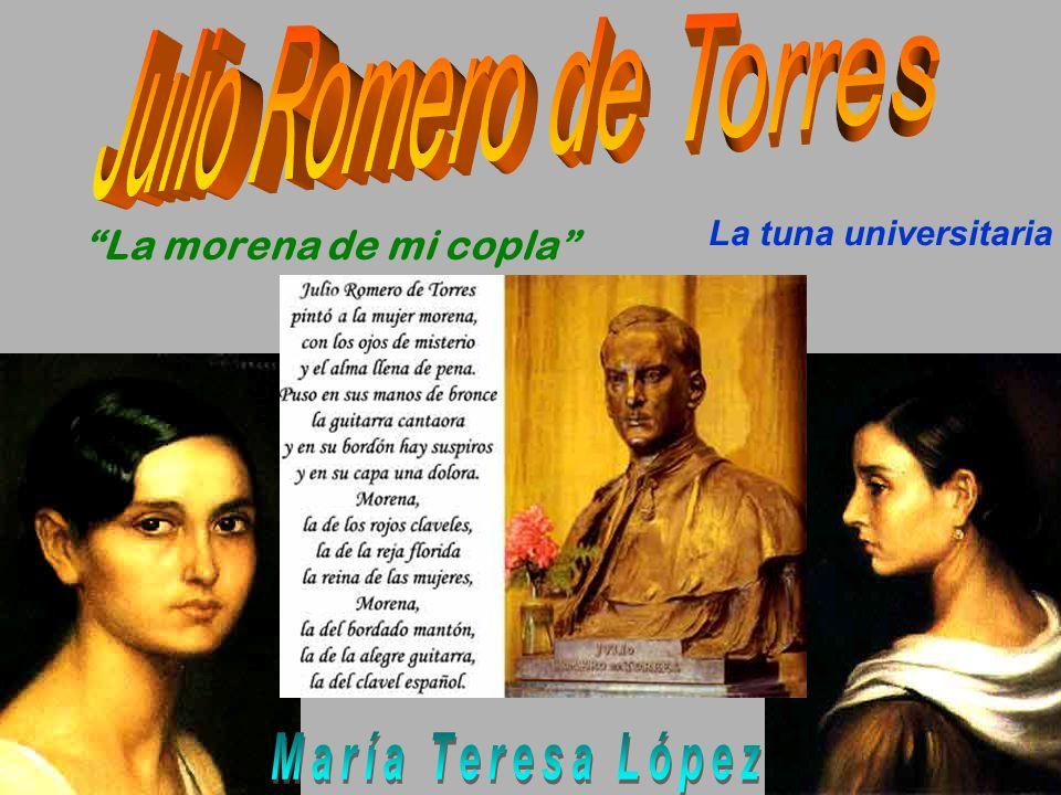 Alegrías, 1917, Óleo y temple sobre lienzo 161 x 157 cm, Museo Julio Romero de Torres Vemos en esta obra una magistral composición con la figura femenina del centro como protagonista.