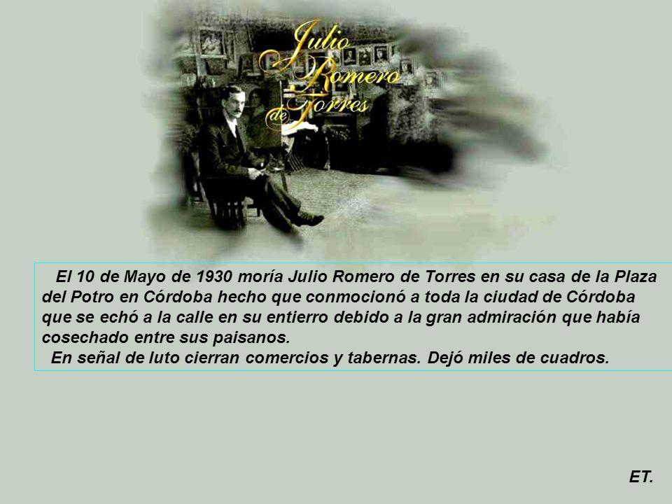 La chiquita piconera, 1930, Óleo sobre lienzo 100 x 80 cm, Museo Julio Romero de Torres En los primeros meses de 1930, Romero de Torres, agotado por el exceso de trabajo y afectado de una dolencia hepática, se halla en su Córdoba tratando de recuperarse.