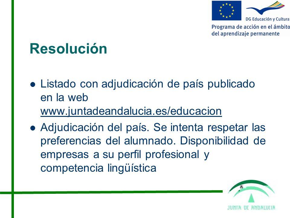 Resolución Listado con adjudicación de país publicado en la web www.juntadeandalucia.es/educacion www.juntadeandalucia.es/educacion Adjudicación del país.