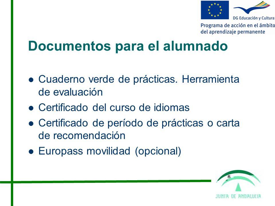 Documentos para el alumnado Cuaderno verde de prácticas.