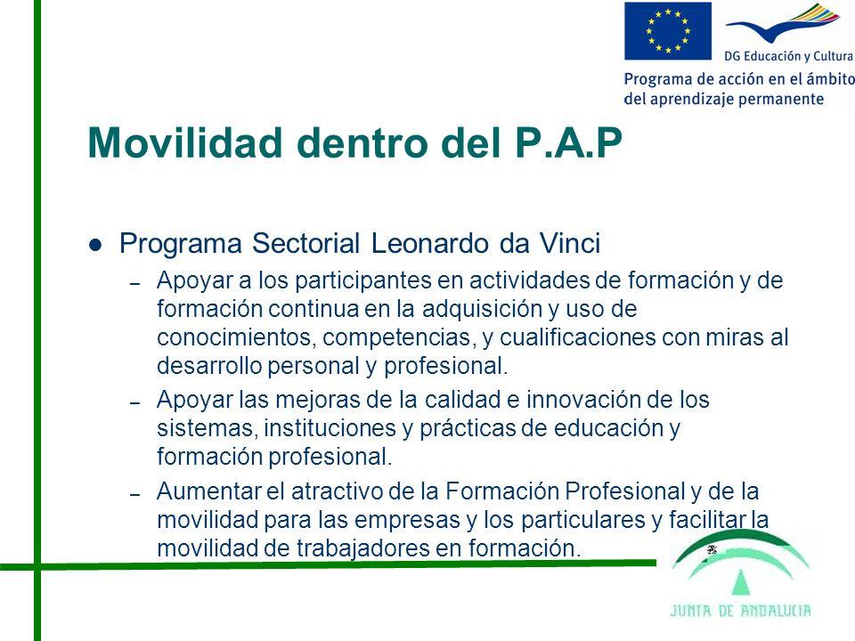Movilidad dentro del P.A.P Programa Sectorial Leonardo da Vinci – Apoyar a los participantes en actividades de formación y de formación continua en la adquisición y uso de conocimientos, competencias, y cualificaciones con miras al desarrollo personal y profesional.
