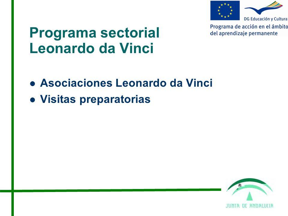 Programa sectorial Leonardo da Vinci Asociaciones Leonardo da Vinci Visitas preparatorias
