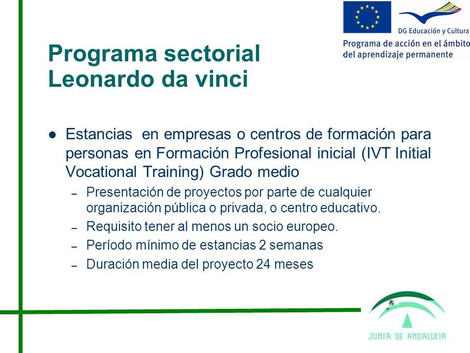 Programa sectorial Leonardo da vinci Estancias en empresas o centros de formación para personas en Formación Profesional inicial (IVT Initial Vocational Training) Grado medio – Presentación de proyectos por parte de cualquier organización pública o privada, o centro educativo.