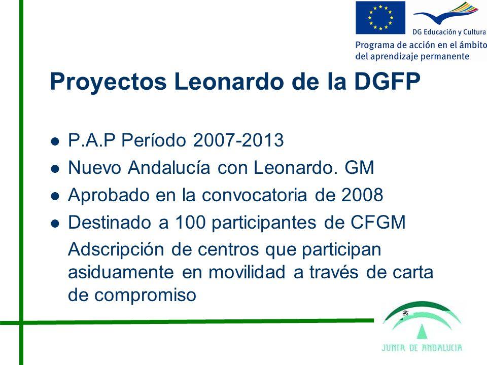 Proyectos Leonardo de la DGFP P.A.P Período 2007-2013 Nuevo Andalucía con Leonardo.