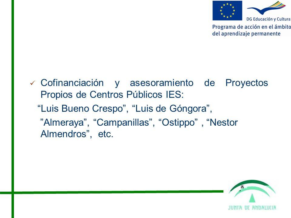 Cofinanciación y asesoramiento de Proyectos Propios de Centros Públicos IES: Luis Bueno Crespo, Luis de Góngora, Almeraya, Campanillas, Ostippo, Nestor Almendros, etc.