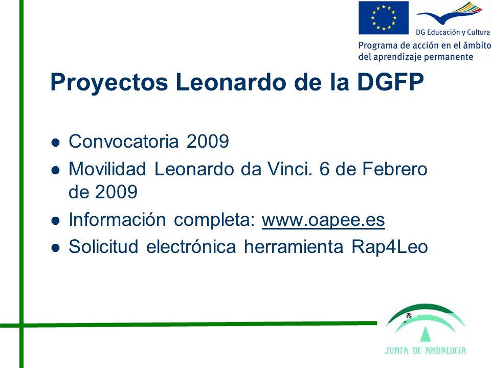 Proyectos Leonardo de la DGFP Convocatoria 2009 Movilidad Leonardo da Vinci.