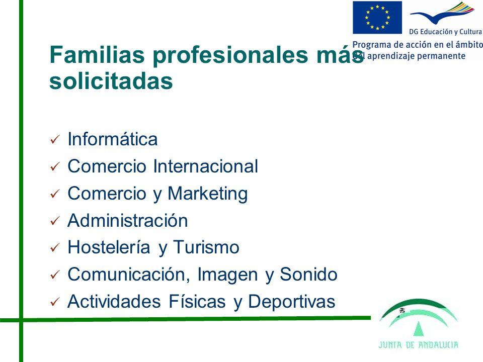 Familias profesionales más solicitadas Informática Comercio Internacional Comercio y Marketing Administración Hostelería y Turismo Comunicación, Imagen y Sonido Actividades Físicas y Deportivas