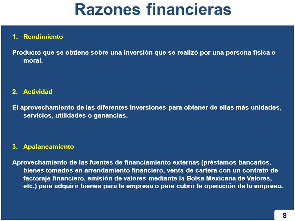 8 Razones financieras 1.Rendimiento Producto que se obtiene sobre una inversión que se realizó por una persona física o moral. 2.Actividad El aprovech