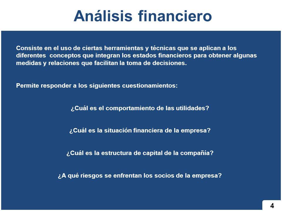 4 Análisis financiero Consiste en el uso de ciertas herramientas y técnicas que se aplican a los diferentes conceptos que integran los estados financieros para obtener algunas medidas y relaciones que facilitan la toma de decisiones.
