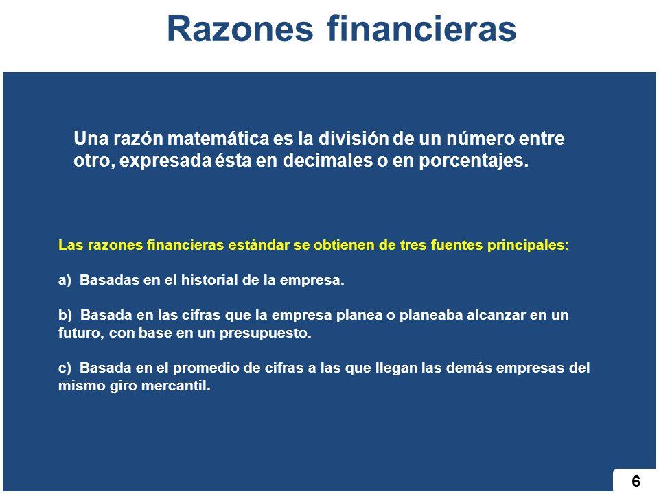 6 Razones financieras Las razones financieras estándar se obtienen de tres fuentes principales: a) Basadas en el historial de la empresa. b) Basada en