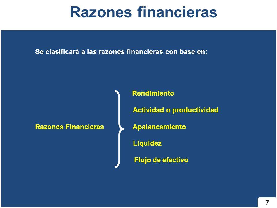 7 Razones financieras Se clasificará a las razones financieras con base en: Rendimiento Actividad o productividad Razones Financieras Apalancamiento Liquidez Flujo de efectivo