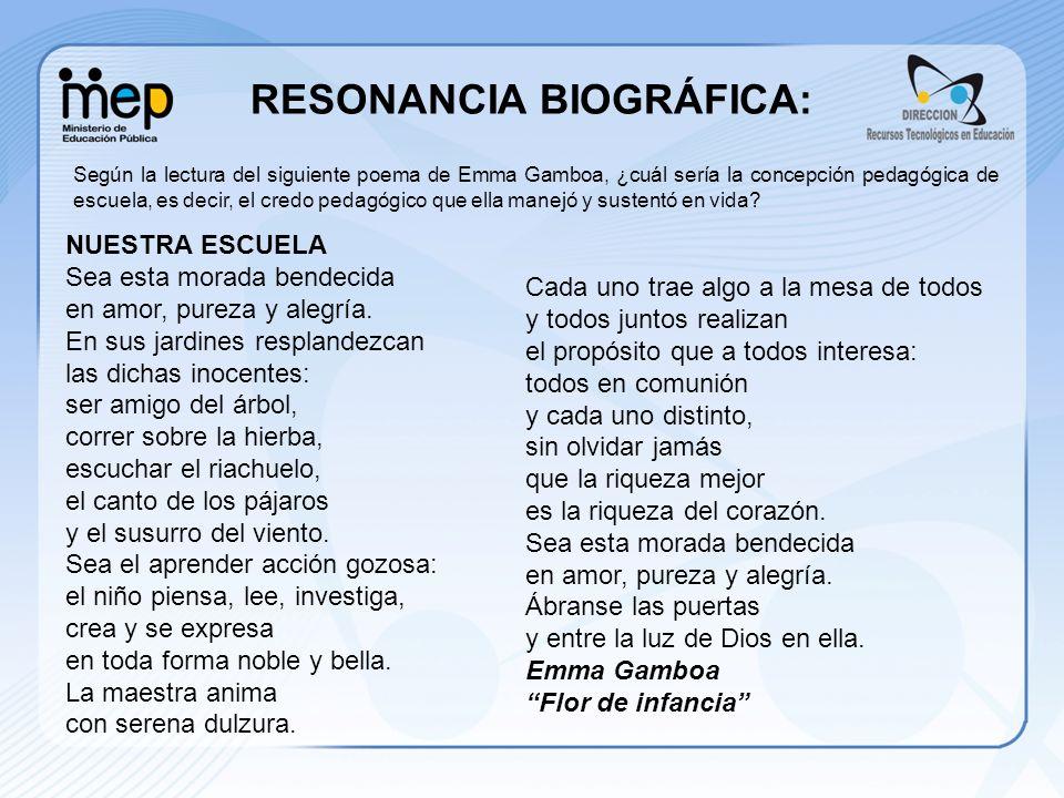 RESONANCIA BIOGRÁFICA: Según la lectura del siguiente poema de Emma Gamboa, ¿cuál sería la concepción pedagógica de escuela, es decir, el credo pedagógico que ella manejó y sustentó en vida.